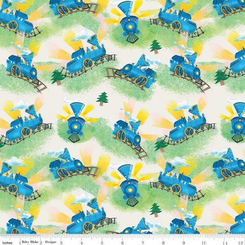 SALE The Little Engine That Could Choo-Choo C9992 Cream - Riley Blake Designs - Juvenile Trains Little Train   - Quilting Cotton Fabric