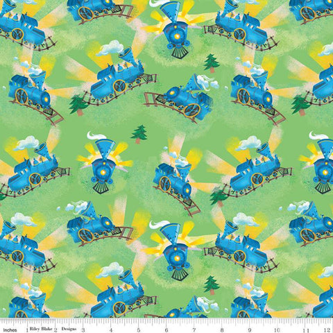 SALE The Little Engine That Could Choo-Choo C9992 Green - Riley Blake Designs - Juvenile  Little Train Engine   - Quilting Cotton Fabric