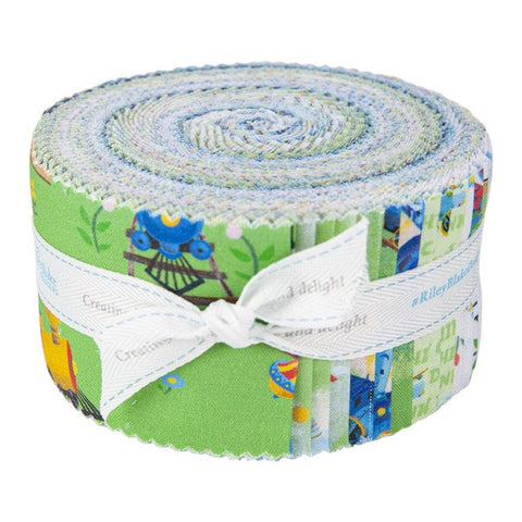 SALE The Little Engine That Could 2.5-Inch Rolie Polie Jelly Roll 40 pieces Riley Blake Designs - Precut Bundle - Quilting Cotton Fabric