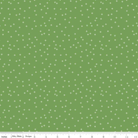 SALE Prim Circles C9693 Clover - Riley Blake Designs - Green Scattered Outlined Circles - Quilting Cotton Fabric