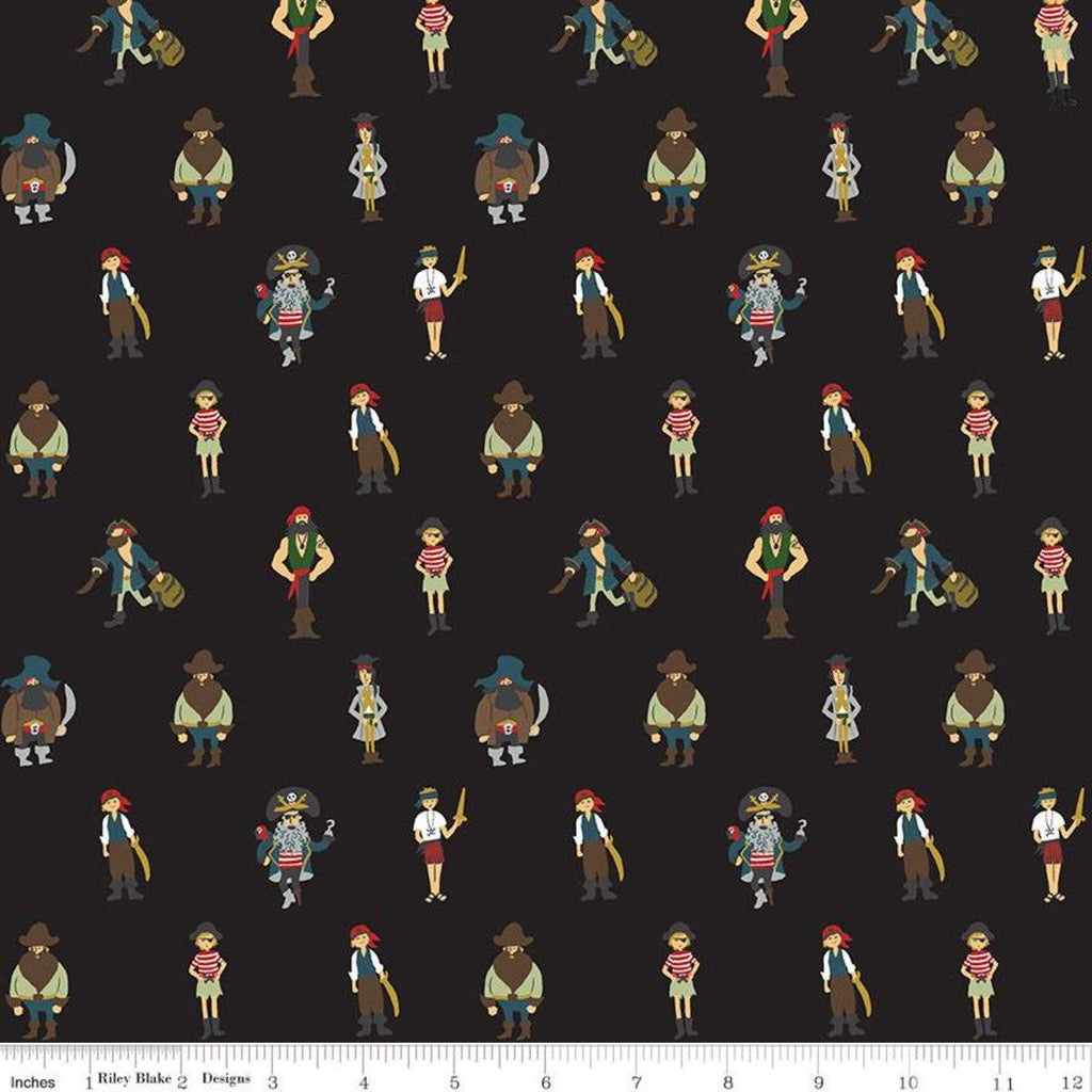 SALE Pirate Tales Pirates C9682 Black - Riley Blake Designs - Quilting Cotton Fabric