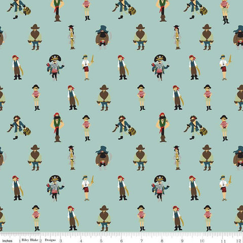 SALE Pirate Tales Pirates P9682 Blue - Riley Blake Designs - Quilting Cotton Fabric