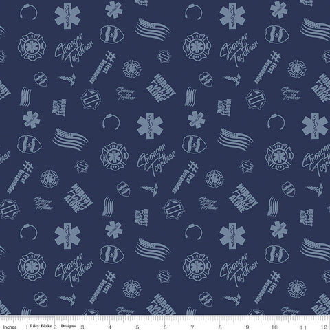 SALE Nobody Fights Alone First Responder C10421 Navy - Riley Blake Designs - Blue Symbols Flags Stronger Together - Quilting Cotton Fabric