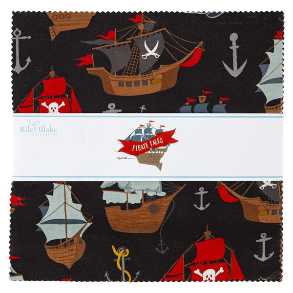"SALE Pirate Tales Layer Cake 10"" Stacker Bundle - Riley Blake - 42 piece Precut Pre cut - Pirates - Quilting Cotton Fabric"