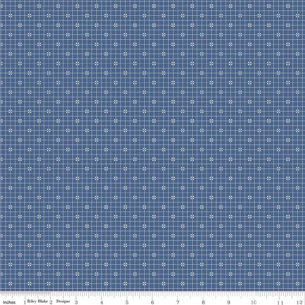 SALE Prim Plaid C9701 Denim - Riley Blake Designs - Blue Grid with Dots - Quilting Cotton Fabric