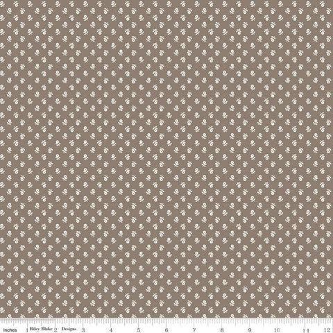 SALE Prim Posy C9702 Pebble - Riley Blake Designs - Brown Flower Sprigs Floral - Quilting Cotton Fabric