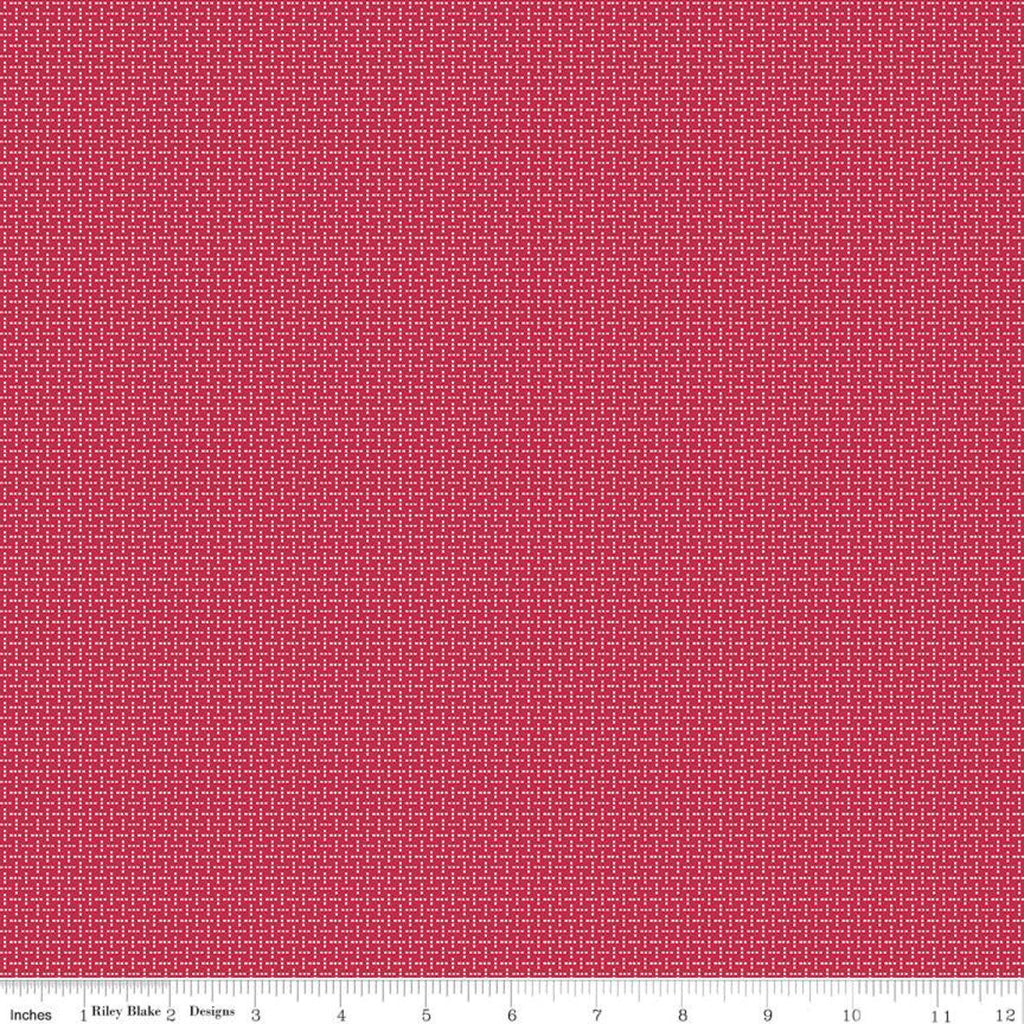 SALE Prim Stitches C9703 Jazzberry - Riley Blake Designs - Geometric Dots Red  - Quilting Cotton Fabric