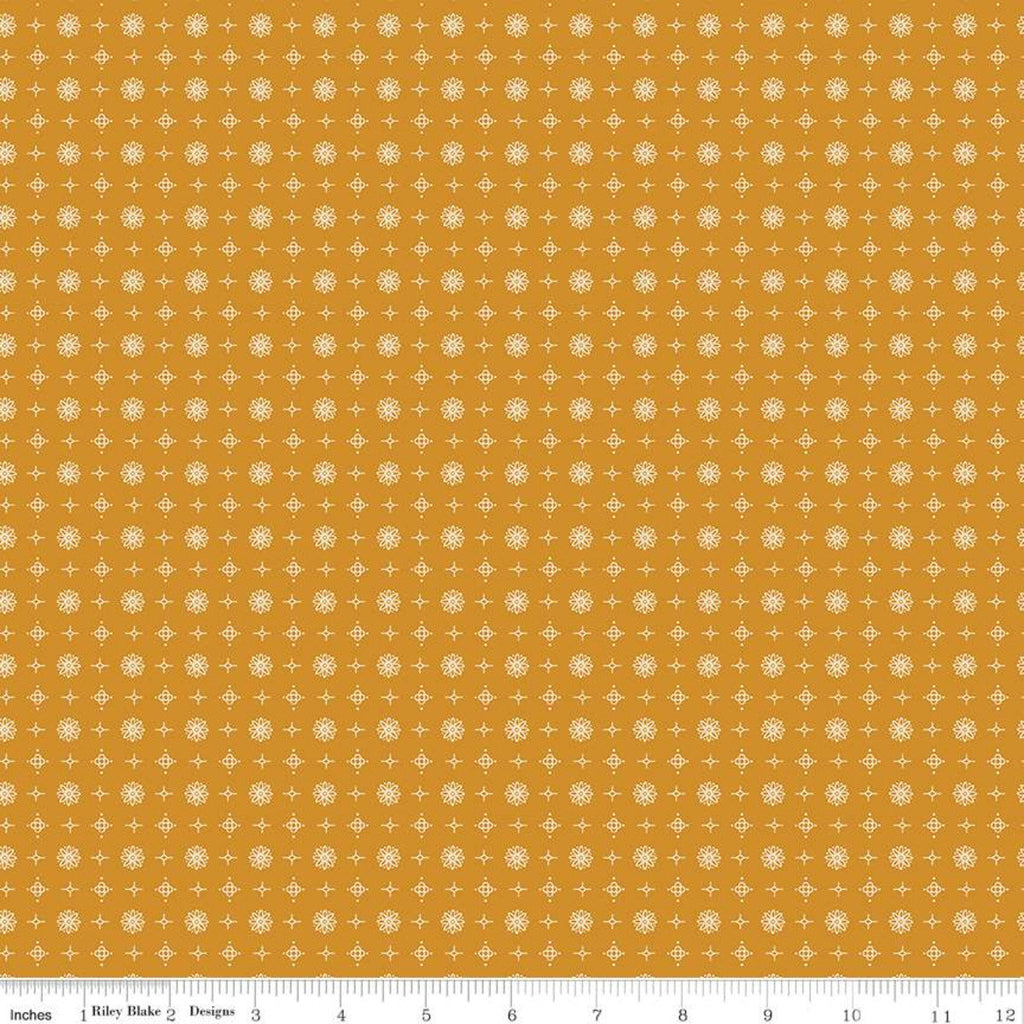 SALE Prim Vintage C9706 Butterscotch - Riley Blake Designs - Gold Geometrics Flowers Medallions - Quilting Cotton Fabric