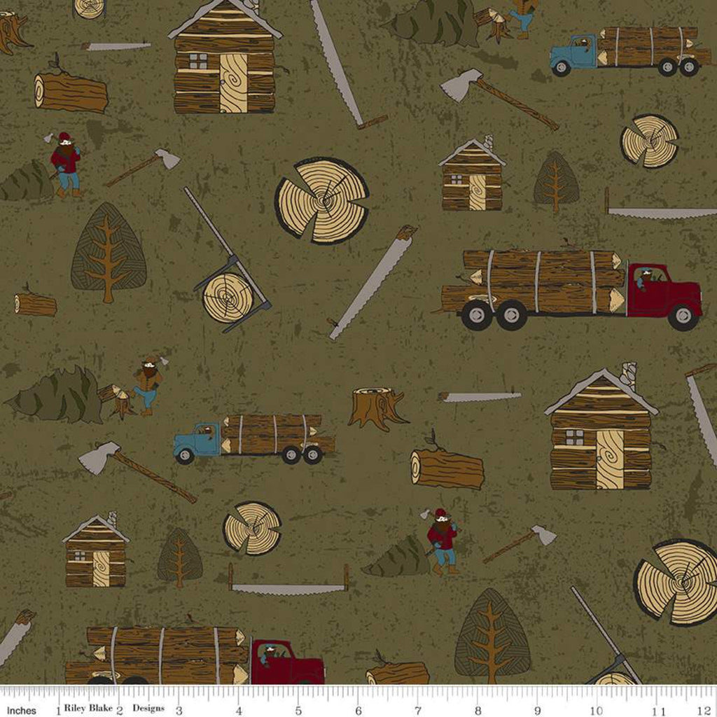 SALE Cotton FLANNEL Lumberjack Aaron Main F7793 Green by Riley Blake Designs - Log Cabins Saws Woodsmen Axes Trucks - Cotton FLANNEL Fabric