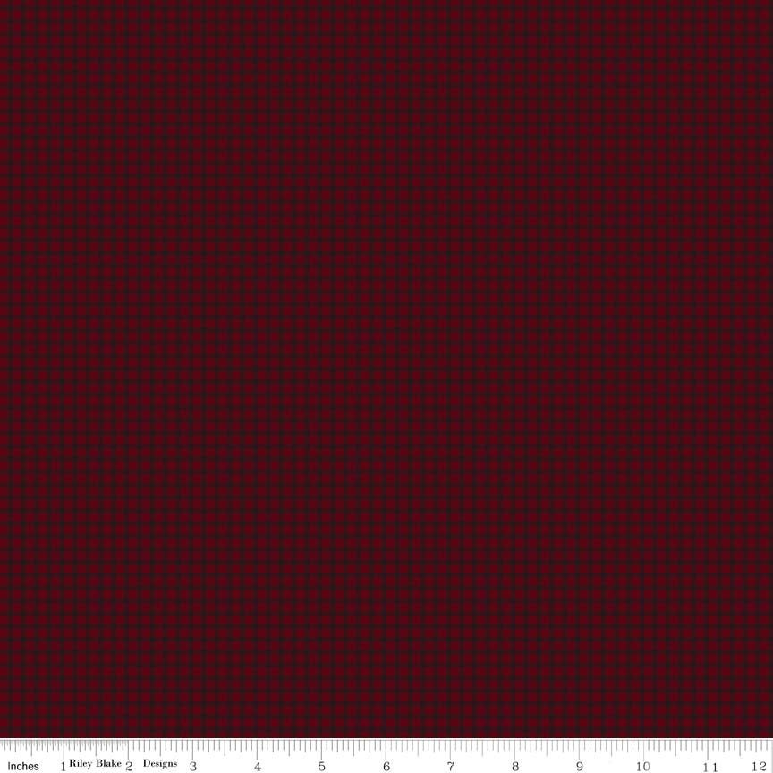 Cotton FLANNEL Lumberjack Aaron Gingham F7795 Red by Riley Blake Designs - Black Red Printed Gingham Pattern - Cotton FLANNEL Fabric