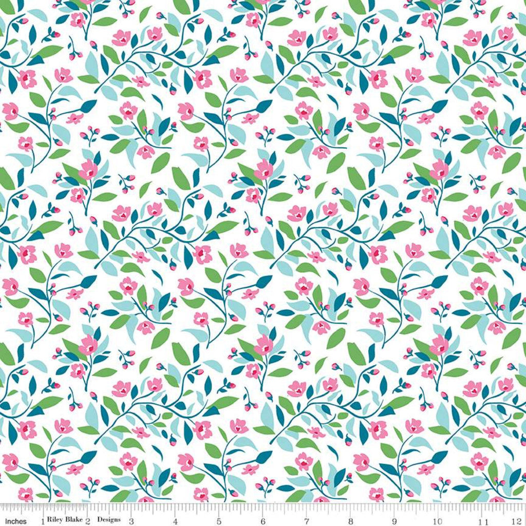 SALE Fleur Vines C9872 Blue - Riley Blake Designs - Floral Flowers Flower Sprigs Leaves White  - Quilting Cotton Fabric