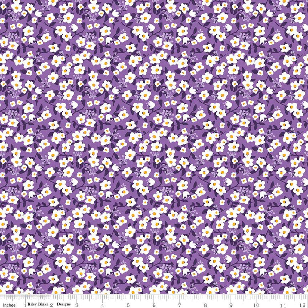 Fleur Meadow C9873 Purple - Riley Blake Designs - Floral Flower Leaves White Flowers - Quilting Cotton Fabric