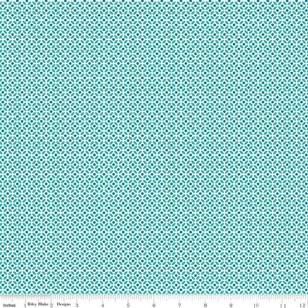 SALE Fleur Circles C9875 Teal - Riley Blake Designs - Geometric Blue Green White -  Quilting Cotton Fabric