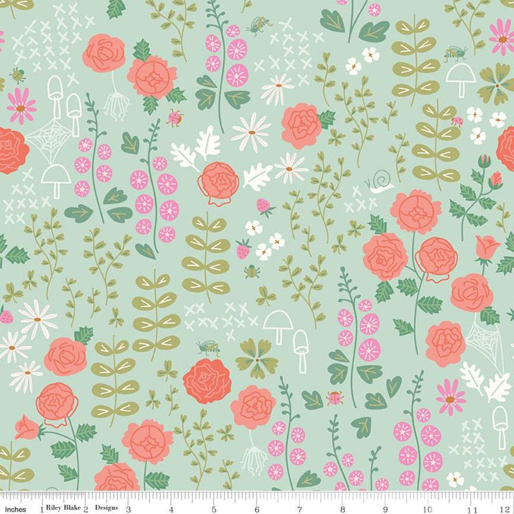 New Dawn Rose Garden C9851 Mint - Riley Blake Designs - Green Floral Flowers Leaves Berries Mushrooms Spider Webs - Quilting Cotton Fabric