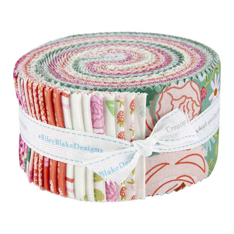 New Dawn 2.5-Inch Rolie Polie Jelly Roll 40 pieces Riley Blake Designs - Precut Bundle - Flowers Floral - Quilting Cotton Fabric