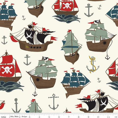 SALE Pirate Tales Main P9680 Cream - Riley Blake Designs - Pirate Ships Anchors - Quilting Cotton Fabric