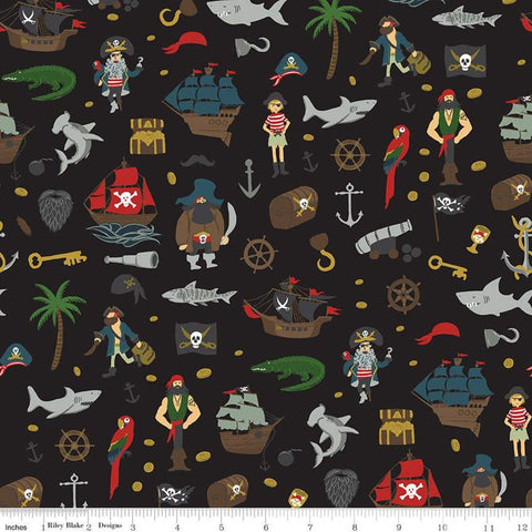 SALE Pirate Tales Scatter C9681 Black - Riley Blake Designs - Pirates Ships Anchors Coins Sharks Treasure Chests Hooks - Quilting Cotton
