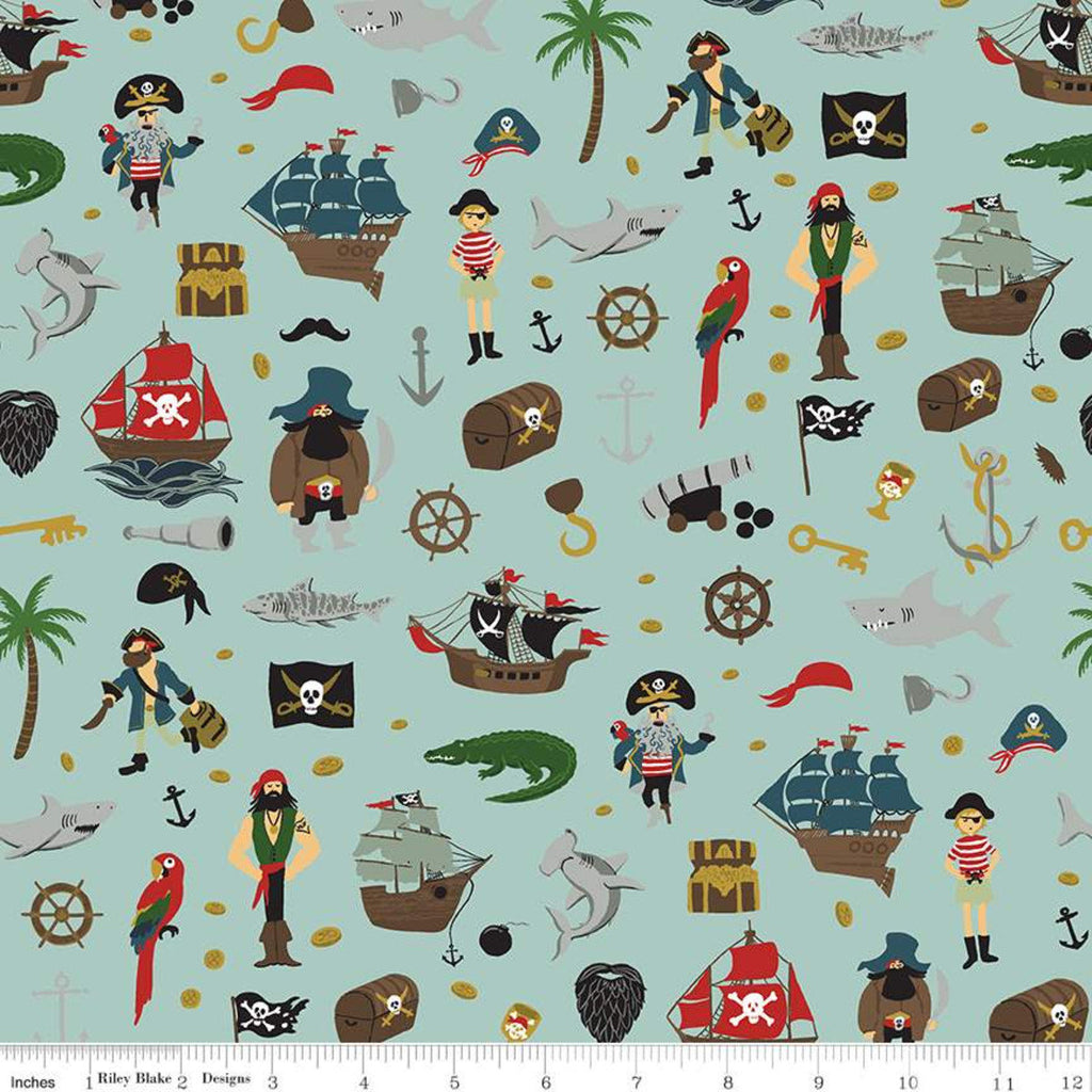 SALE Pirate Tales Scatter C9681 Blue - Riley Blake Designs - Pirates Ships Anchors Coins Sharks Treasure Chests Hooks - Quilting Cotton
