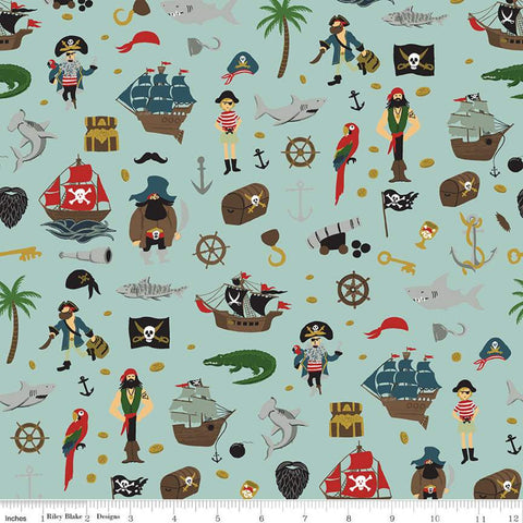 Pirate Tales Scatter C9681 Blue - Riley Blake Designs - Pirates Ships Anchors Coins Sharks Treasure Chests Hooks - Quilting Cotton