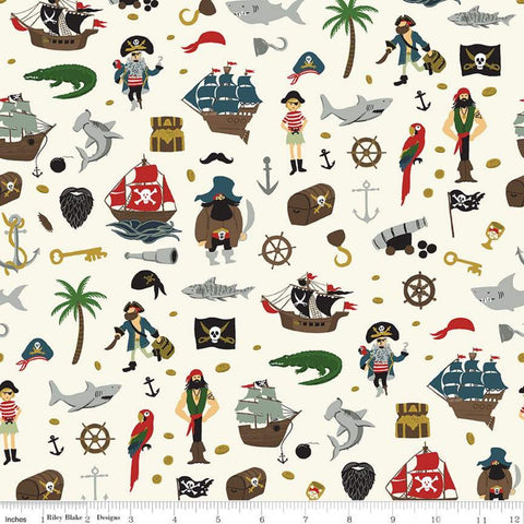 SALE Pirate Tales Scatter P9681 Cream - Riley Blake Designs - Pirates Ships Anchors Coins Sharks Treasure Chests Hooks - Quilting Cotton