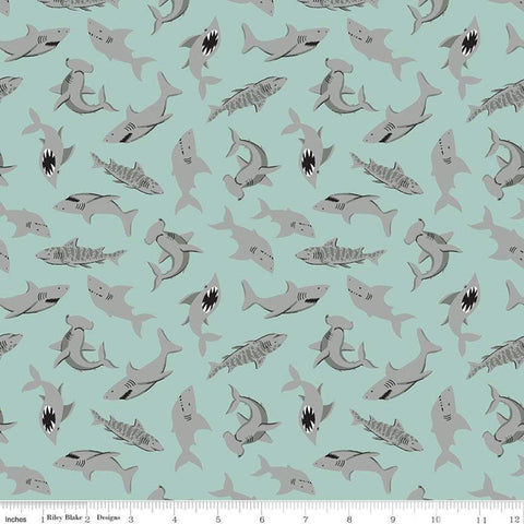 Pirate Tales Sharks P9684 Blue - Riley Blake Designs - Pirates - Quilting Cotton Fabric