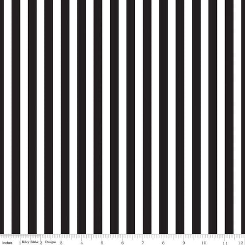 "SALE Pirate Tales Stripes C9686 Black - Riley Blake Designs - Black and White 3/8"" Stripe Striped -  Quilting Cotton Fabric"