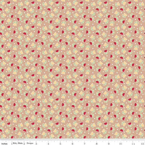 SALE Bake Sale 2 Tulip C6984 Nutmeg - Riley Blake Designs - Tulips Floral Flowers Brown Beige - Quilting Cotton Fabric