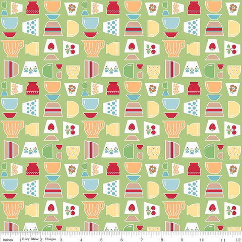 Bake Sale 2 Main C6980 Green - Riley Blake Designs - Vintage Mixing Bowls - Quilting Cotton Fabric
