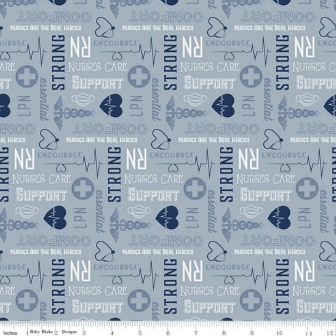 Nobody Fights Alone Nurses Care C10422 Blue - Riley Blake Designs - Blue White Symbols Text RN LPN Nursing  - Quilting Cotton Fabric