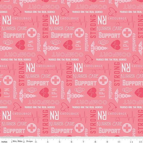 Nobody Fights Alone Nurses Care C10422 Pink - Riley Blake Designs - Pink White Symbols Text RN LPN Nursing  - Quilting Cotton Fabric