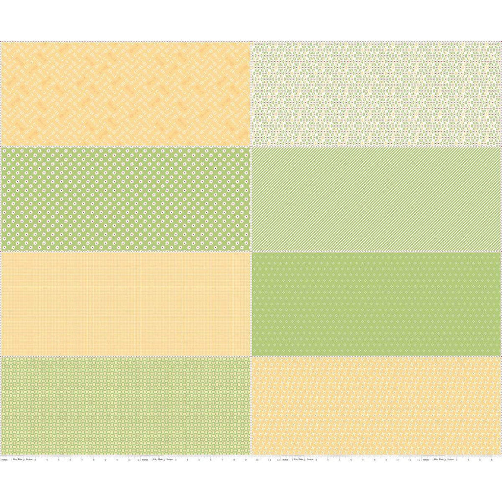 Bake Sale 2 Fat Eighth Panel FEP6989 Green by Riley Blake Designs - 8 Fat Eighths Yellow Green - Quilting Cotton Fabric