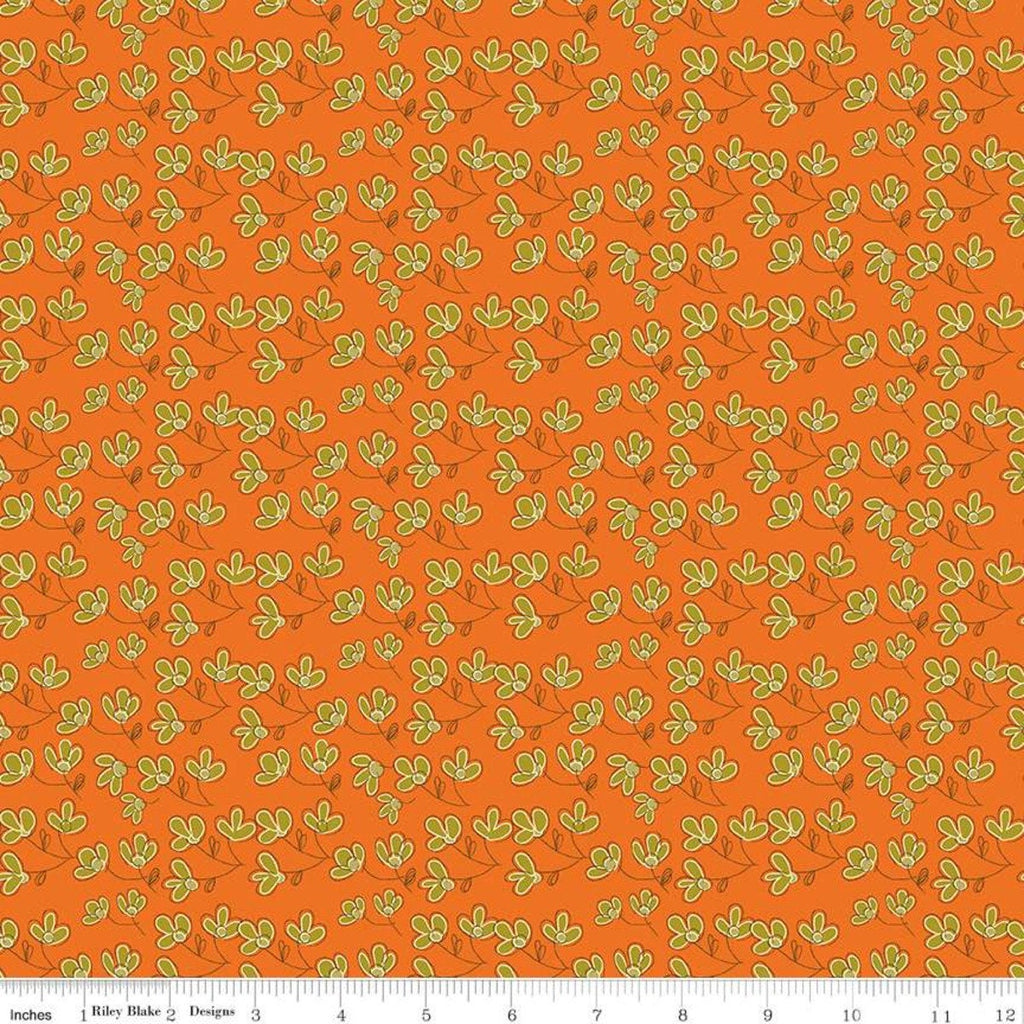 SALE Give Thanks Blossoms C9523 Orange - Riley Blake Designs - Thanksgiving Autumn Fall Floral Flowers -  Quilting Cotton Fabric