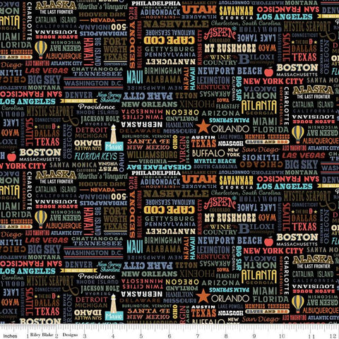 SALE Destinations United States Destinations C10029 Black - Riley Blake Designs - Cities States Points of Interest - Quilting Cotton Fabric