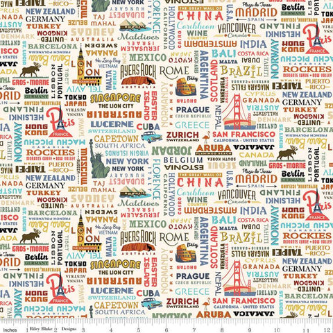 SALE Destinations World Destinations C10031 Cream - Riley Blake Designs - Cities Countries Points of Interest - Quilting Cotton Fabric