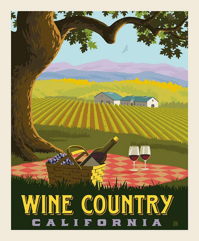 SALE Destinations Poster Panel P10023 Wine Country by Riley Blake Designs - Picnic Winery California - Quilting Cotton Fabric