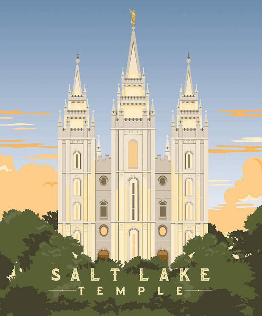 SALE Temples Salt Lake Panel P9860 by Riley Blake Designs - Church of Jesus Christ of Latter-day Saints Temple  - Quilting Cotton Fabric