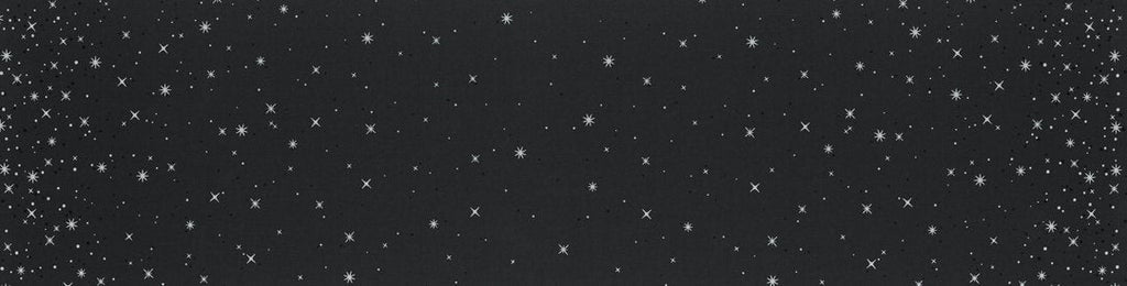 Ombre Fairy Dust METALLIC 10871 Soft Black - Moda - Black with Silver SPARKLE Stars - Quilting Cotton Fabric