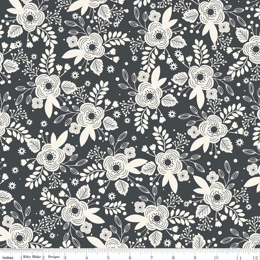 My Heritage Main C9790 Charcoal - Riley Blake Designs -  Dark Gray Cream Flowers Floral - Quilting Cotton Fabric