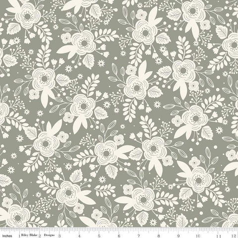 SALE My Heritage Main C9790 Sage - Riley Blake Designs - Green Cream Floral Flowers - Quilting Cotton Fabric