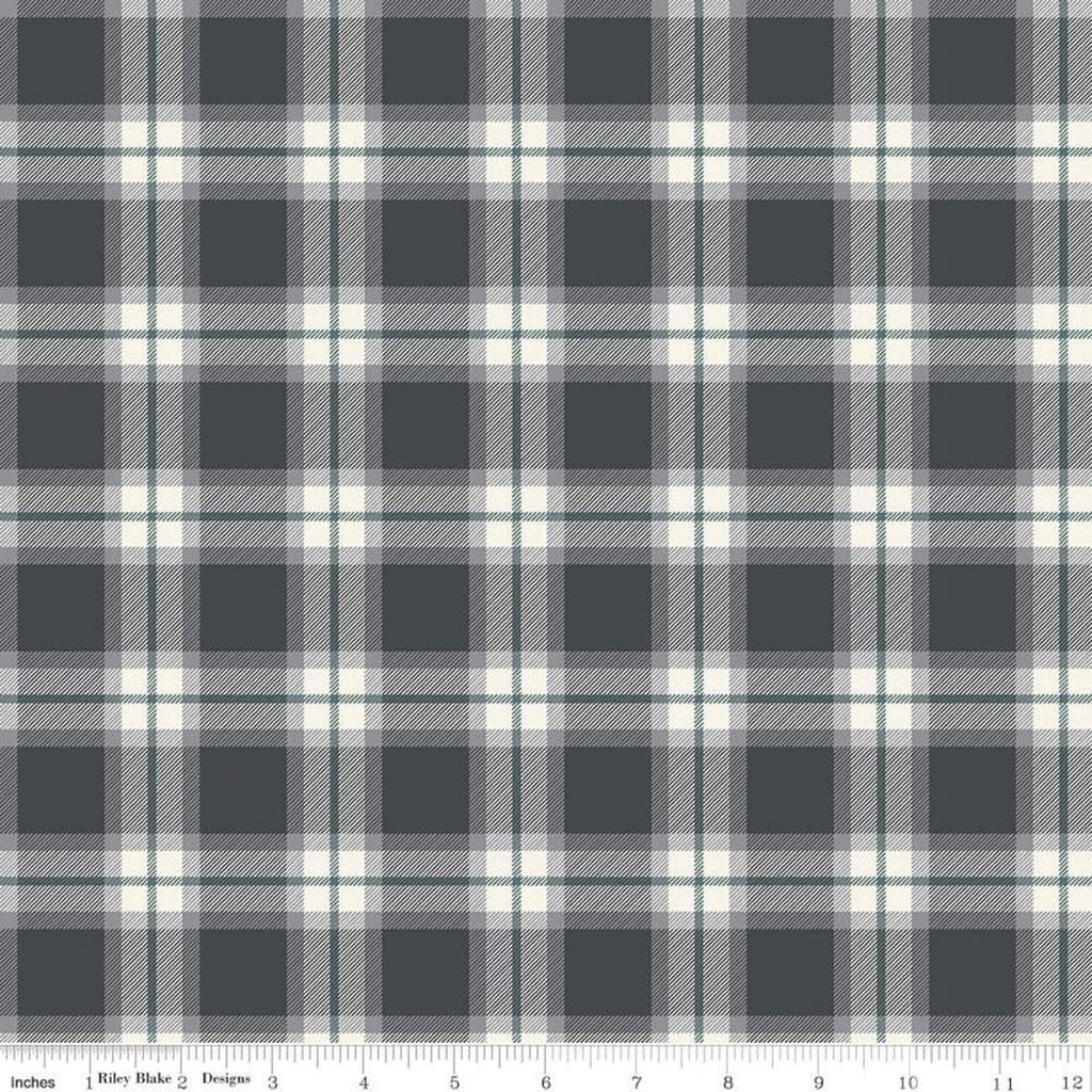 SALE My Heritage Plaid C9791 Charcoal - Riley Blake Designs -  Dark Gray Cream Green Geometric - Quilting Cotton Fabric