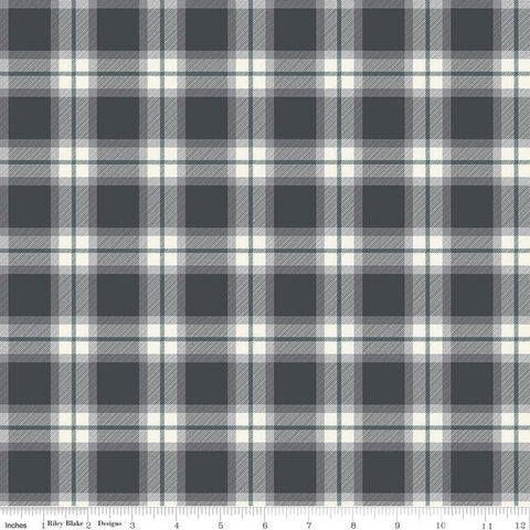 My Heritage Plaid C9791 Charcoal - Riley Blake Designs -  Dark Gray Cream Green Geometric - Quilting Cotton Fabric
