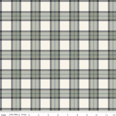 SALE My Heritage Plaid C9791 Cream - Riley Blake Designs - Gray Green Cream Geometric - Quilting Cotton Fabric
