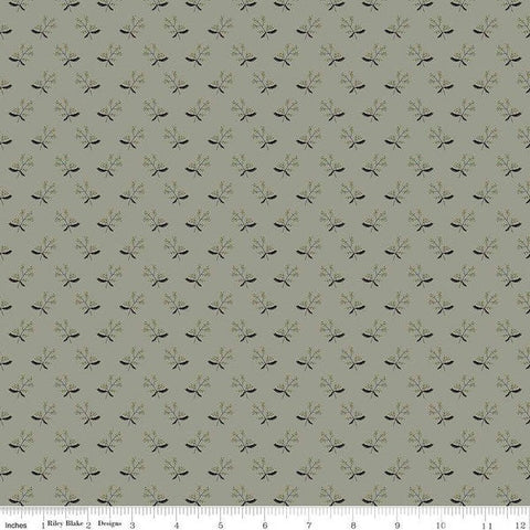 SALE My Heritage Branches C9794 Sage - Riley Blake Designs - Sprigs Leaves Berries Green  - Quilting Cotton Fabric