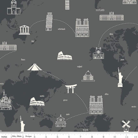 SALE My Heritage Map C9797 Charcoal - Riley Blake Designs - Gray World Map Countries Landmarks  - Quilting Cotton Fabric