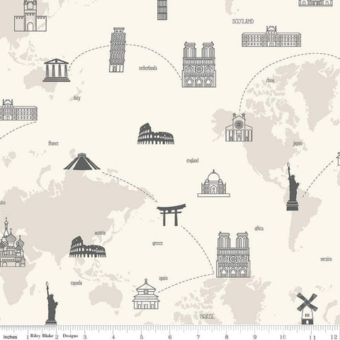 SALE My Heritage Map C9797 Cream - Riley Blake Designs - World Map Countries Landmarks  - Quilting Cotton Fabric