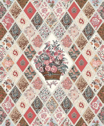 Jane Austen at Home Diamond Panel P10021 by Riley Blake - Reproductions Historical Floral Diamonds Quilt DIGITALLY PRINTED - Cotton Fabric