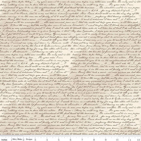 SALE Jane Austen at Home C10018 Correspondence - Riley Blake Designs - Beige Black Historical Letters Text - Quilting Cotton Fabric