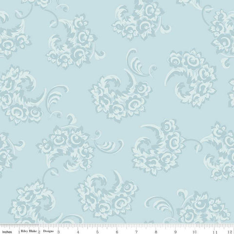 Jane Austen at Home C10017 Julia - Riley Blake Designs - Blue Historical Reproductions Floral Flowers - Quilting Cotton Fabric