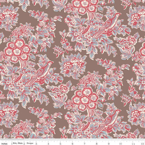 SALE Jane Austen at Home C10015 Penelope - Riley Blake Designs - Brown Red Blue Historical Reproductions Floral Flowers - Quilting Cotton