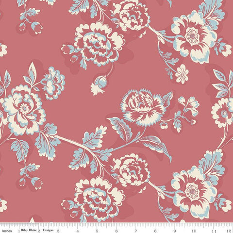 SALE Jane Austen at Home C10012 Lady Catherine - Riley Blake Designs - Red Cream Blue Historical Reproductions Floral - Quilting Cotton